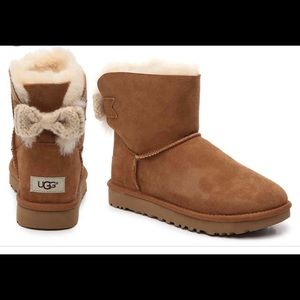 Ugg mini bailey knot bow chestnut ankle boots